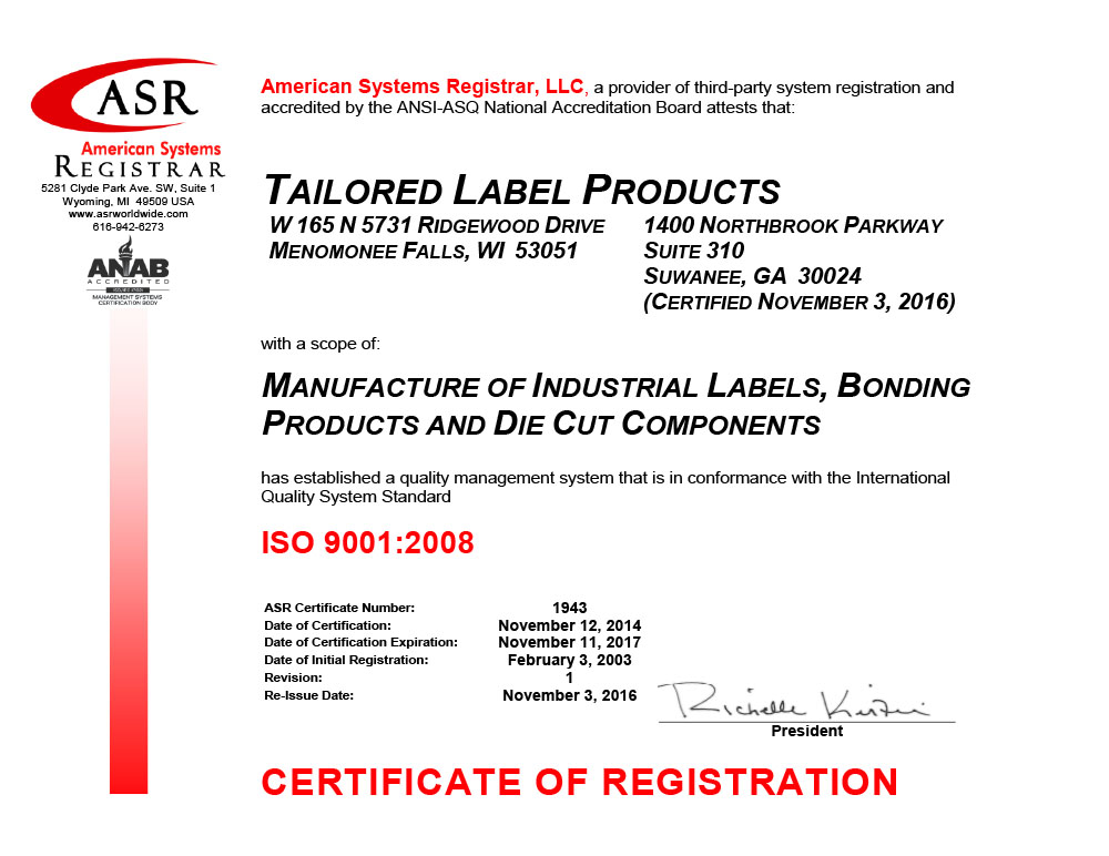 TLP ISO 9001 Certificate