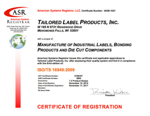 TLP ISO TS 16949 Certificate
