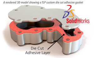 3D CAD model of a TLP Gasket Die Cut Adhesive, Specialty Labels, Custom Adhesives, Product Prototypes, Custom Adhesive