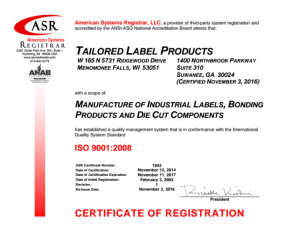 TLP ISO 9001 Certificate, Tailored Label Products