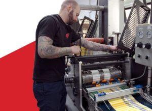 Tailored Label employee Jason Clark prints labels at the company's Menomonee Falls facility.
