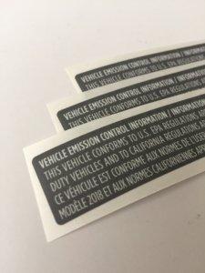 CARB Label, Vehicle Emissions Label, EPA Emission Label, Emissions Label, Carb Label, Vehicle Emissions Label, EPA Emission Label, Emissions Label