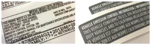 Warning Labels, Label Regulations, Regulatory Label, CARB Label, Vehicle Emissions Label, EPA Emission Label, Emissions Label