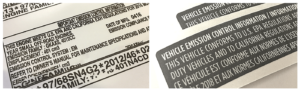 VECI label, Warning Labels, Label Regulations, Regulatory Label, CARB Label, Vehicle Emissions Label, EPA Emission Label, Emissions Label