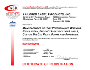 ISO Certified Tailored Label Products